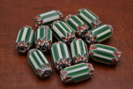 12 Pcs Green, White, & Red  Cheveron Glass Beads