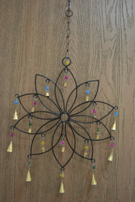Handmade Flower Rusty Iron Metal Bells Windchime