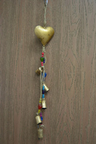 Handmade Rusty Iron Heart Metal Bells Windchime