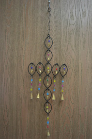 Handmade Cross Oval Rusty Iron Metal Bells Windchime