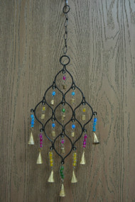Handmade Diamond Oval Rusty Iron Metal Bells Windchime