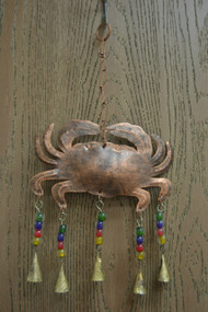 Handmade Crab Rusty Iron Metal Bells Windchime