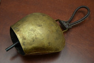 Handmade Rusty Iron Metal Bell With Leather Handler 8 1/2""
