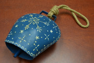 Handmade Blue Star Rusty Iron Metal Bell With Rope Handler 8 1/2""