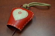 Handmade Red Heart Rusty Iron Metal Bell With Rope Handler 6""