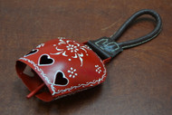 Handmade Red Heart Rusty Iron Metal Bell With Rope Handler 5 1/4""