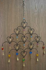 Handmade Rusty Iron Metal Bells Diamond Heart Windchime