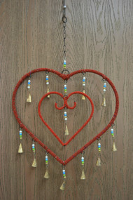 Handmade Red Rusty Iron Metal Bells Heart Windchime