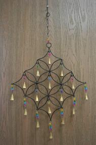 Handmade Rusty Iron Metal Bells Star Diamond Windchime
