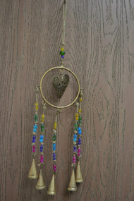 Handmade Metal Rusty Iron Heart Bells With Glass Beads Windchime