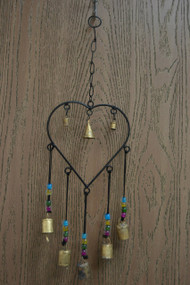 Handmade Heart Metal Rusty Iron Heart Bells With Glass Beads Windchime