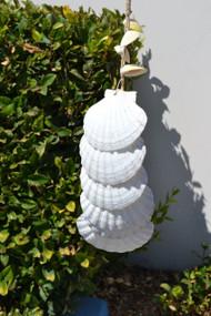 """Handmade White Irish Scallop Seashell Windchime 26"""""""