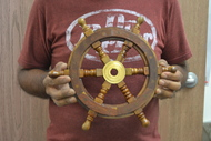 Wood Steering Wheel Boat Brass Center Wall Decor 12""