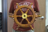 "Wood Steering Wheel Boat Brass Center Wall Decor 18"""