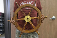 Wood Steering Wheel Boat Brass Center Wall Decor 24""