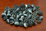 Carved Stripe Round Brown Buffalo Bone Beads 8mm