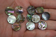 12 Pcs Round Abalone Shell Charm Pendants 15mm