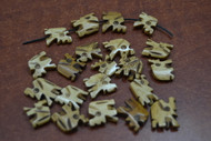 18 Pcs Tan Carved Elephant Buffalo Bone Beads 7/8""