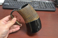 Black Stripe Buffalo Horn Medieval Ale Drinking Cup 5""