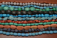 Assort Handmade Carved Clay Beads - 12 Strands