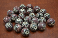40 Pcs Purple Ceramic Round Circle Beads 3/4""