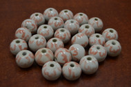 40 Pcs White & Pink Ceramic Round Circle Beads 3/4""