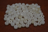 100 Pcs White Pony Crow Glass Beads