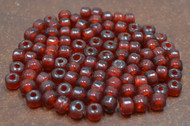 100 Pcs Dark Red Pony Crow Glass Beads