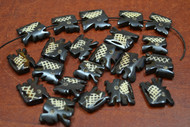 20 Pcs Chocolate Brown Carved Elephant Buffalo Bone Beads 3/4""