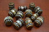 12 Pcs Assort Wood With Mother of Pearl Shell Beads