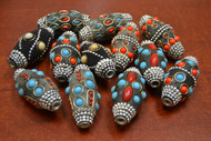 12 Pcs Assort Handmade Lac Metal Beading Beads