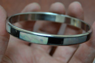 Mother of Pearl Shell Stainless Steel Bangle Bracelet 1/4""