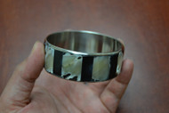 Mother of Pearl Shell Stainless Steel Bangle Bracelet 1""