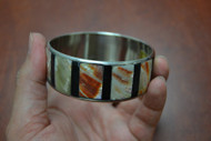 Red Mother of Pearl Shell Stainless Steel Bangle Bracelet 1""