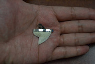 Modern Tiger Shark Teeth Silver Cap Pendant 1""