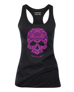 A Skull Named Sugar Pink Ink - Tank Top Aesop Originals Clothing (Black)