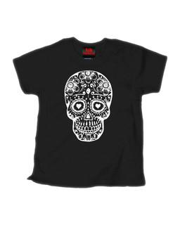 Day Of The Dead Sugar Skull - Kid Rockers Children's Tee Shirt Clothing (Black)