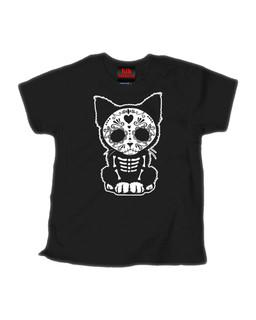 Day Of The Dead Sugar Skull Kitten Cat - Kid Rockers Children's Tee Shirt Clothing (Black)