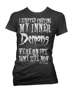 I Stopped Fighting My Inner Demons, We're On The Same Side Now - Tee Shirt Aesop Originals Clothing (Black)