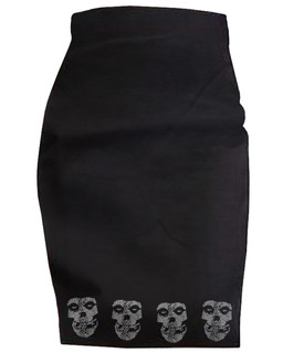 The Unknown Ghost - High Waisted Pencil Skirt Aesop Originals Clothing (Black)