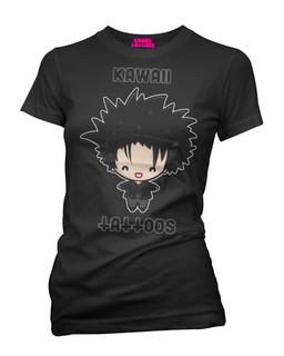 Robert Smith of The Cure - Parody Tee Shirt Kawaii Tattoos Clothing (Black)