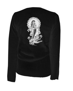 Libra - Retro Zodiac Pinup Tattoo - Cardigan Aesop Originals Clothing (Black)