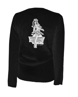 Cancer - Retro Zodiac Pinup Tattoo - Cardigan Aesop Originals Clothing (Black)