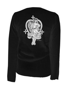 Sagittarius- Retro Zodiac Pinup Tattoo - Cardigan Aesop Originals Clothing (Black)