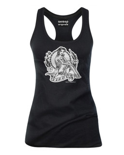 Virgo - Retro Zodiac Pinup Tattoo - Tank Top Aesop Originals Clothing (Black)