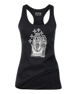 Gemini - Retro Zodiac Pinup Tattoo - Tank Top Aesop Originals Clothing (Black)