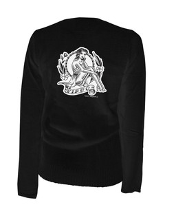 Virgo - Retro Zodiac Pinup Tattoo - Cardigan Aesop Originals Clothing (Black)
