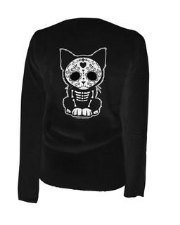 Day Of The Dead Sugar Skull Kitten Cat - Cardigan Aesop Originals Clothing (Black)