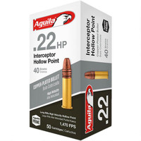 Aguila Interceptor HP .22 LR Ammunition 40 Grain HP -  500 Rounds