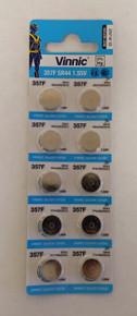 10 Vinnic SG13, 357, 303, V357, SR44SW, SR44, S1154S, D303, D357 Silver Oxide Coin Cell Batteries